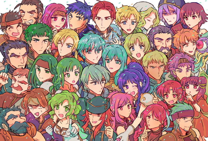 amelia_(fire_emblem) aqua_hair armor bare_shoulders blonde_hair blue_eyes blue_hair blush braid breasts cape dragon_girl dragon_wings dress earrings eirika ephraim facial_mark fingerless_gloves fire_emblem fire_emblem:_seima_no_kouseki forehead_mark gerik gloves green_eyes green_hair highres holding innes jewelry l'arachel long_hair looking_at_viewer lute_(fire_emblem) mamkute marica_(fire_emblem) medium_breasts multi-tied_hair multiple_boys multiple_girls myrrh neimi nintendo noshima open_mouth pegasus_knight pink_hair ponytail purple_hair red_eyes redhead seth_(fire_emblem) short_hair single_braid smile solo syrene tana tethys twin_braids twintails vanessa_(fire_emblem) violet_eyes wings
