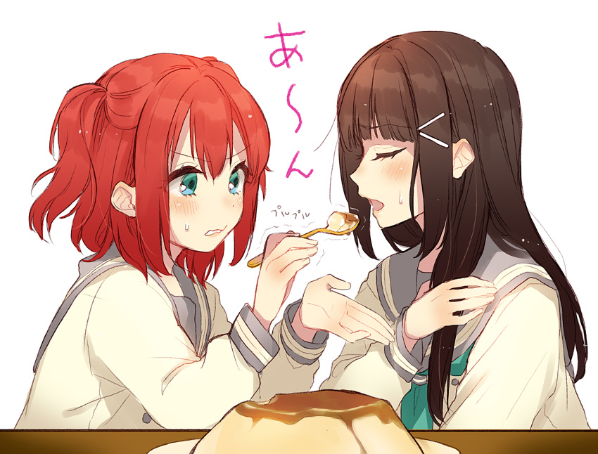 2girls aqua_eyes aqua_neckwear bangs black_hair closed_eyes concentrating cupping_hand feeding food hair_ornament hairpin hand_on_own_chest highres kurosawa_dia kurosawa_ruby long_hair long_sleeves love_live! love_live!_sunshine!! multiple_girls neckerchief open_mouth pudding redhead school_uniform serafuku short_hair siblings sisters spoon sudach_koppe sweatdrop table trembling two_side_up upper_body uranohoshi_school_uniform v-shaped_eyebrows white_background
