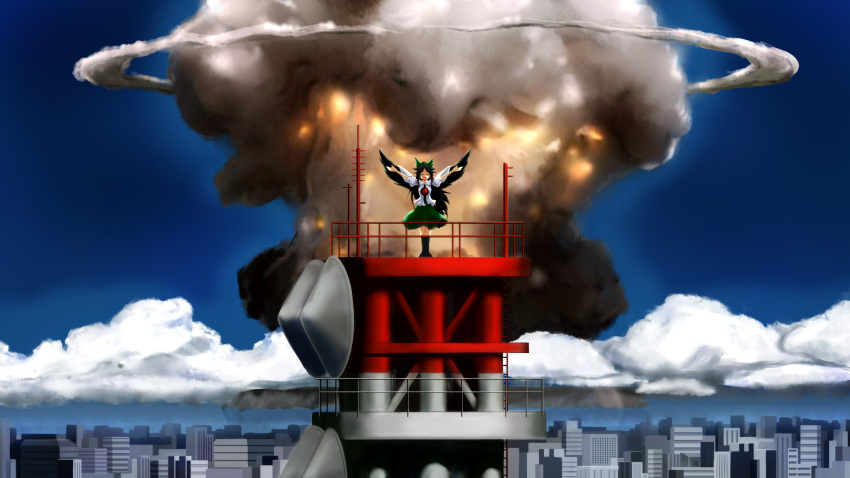 black_hair city closed_eyes explosion happy highres long_hair mousou_dairinin mushroom_cloud nuke open_mouth paranoia_agent parody reiuji_utsuho ribbon ribbons sky smile touhou tsuyuki wings