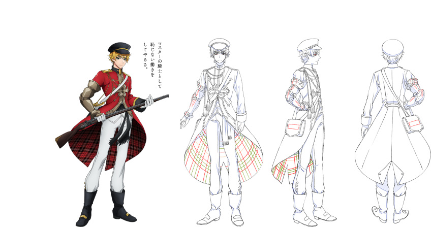 aiguillette antique_firearm aqua_eyes black_footwear blonde_hair boots brown_bess_(senjuushi) character_sheet coattails firearm firelock flintlock from_behind frown full_body gauntlets gloves gun hand_on_hip hat highres holding holding_gun holding_weapon majiro_(mazurka) male_focus military military_hat military_uniform multiple_views musket peaked_cap plaid senjuushi:_the_thousand_noble_musketeers short_hair single_gauntlet translation_request turnaround uniform weapon white_gloves white_legwear