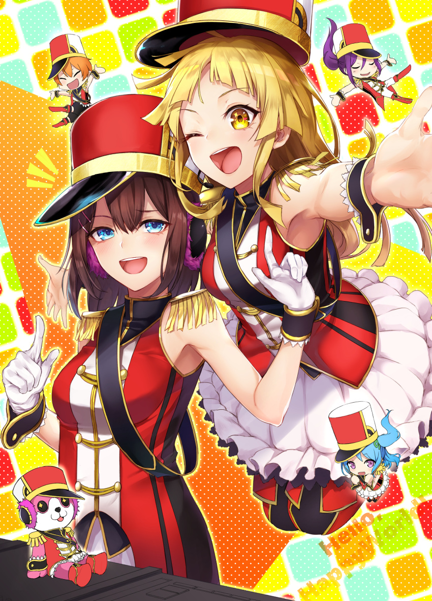 6+girls :d ;d \o/ animal_costume armpits arms_up band_uniform bang_dream! bear_costume black_hair blonde_hair blue_eyes blue_hair boots commentary_request drumsticks earmuffs epaulettes gloves green_ribbon group_name hair_ornament hair_ribbon hairclip hat headphones hello_happy_world! highres holding holding_drumsticks holding_instrument imminent_hug instrument jumping kitazawa_hagumi knee_boots long_hair looking_at_viewer mascot_costume matsubara_kanon medium_hair michelle_(bang_dream!) minigirl mixing_console multiple_girls notice_lines okusawa_misaki one_eye_closed one_side_up open_mouth orange_hair outstretched_arms pants ponytail purple_hair red_footwear ribbon sash seta_kaoru shako_cap short_hair skirt smile spread_arms tsurumaki_kokoro u_u violet_eyes white_gloves white_pants white_skirt wrist_cuffs yellow_eyes yukihama