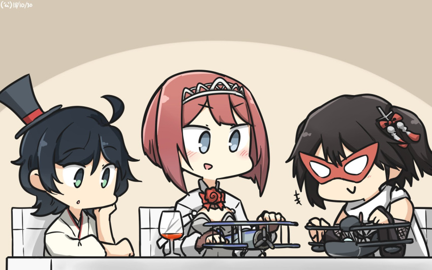 3girls ahoge aircraft aircraft_request airplane ark_royal_(kantai_collection) bangs black_gloves black_hair blue_eyes blunt_bangs bob_cut brown_gloves chair commentary_request dated elbow_gloves fingerless_gloves furisode gloves green_eyes hair_ornament hairband hakama hamu_koutarou hand_on_own_face hat highres japanese_clothes kantai_collection kimono long_sleeves mask matsukaze_(kantai_collection) meiji_schoolgirl_uniform mini_hat mini_top_hat multiple_girls redhead remodel_(kantai_collection) scarf school_uniform sendai_(kantai_collection) serafuku short_hair swept_bangs table tiara top_hat toy_airplane tsurime two_side_up upper_body wavy_hair white_scarf