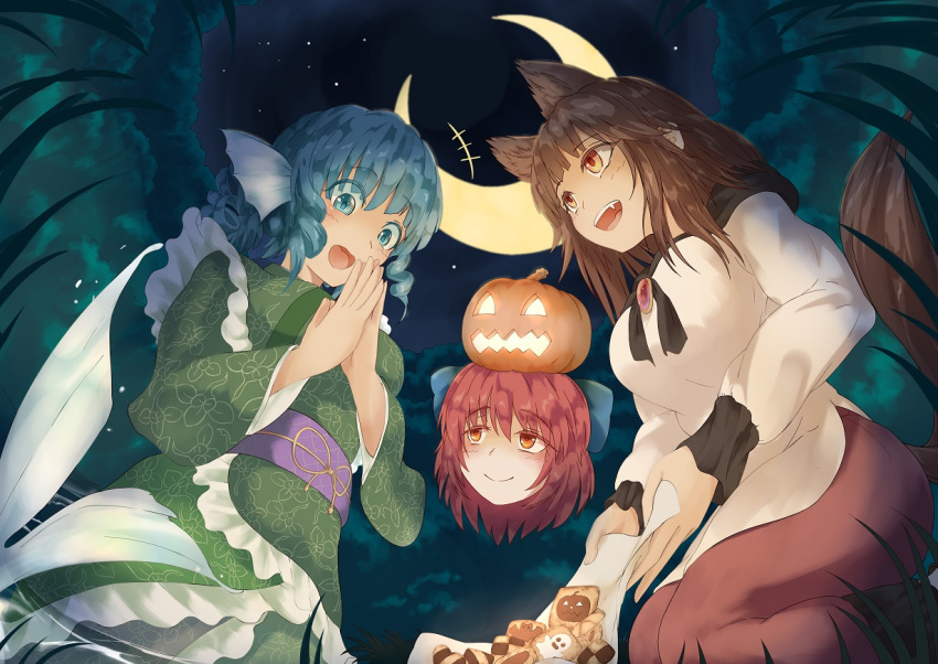 +++ 3girls :d animal_ears bat blue_eyes blue_hair bow breasts brooch brown_hair checkerboard_cookie commentary_request cookie crescent_moon disembodied_head dress drill_hair eyes_visible_through_hair fang fisheye food forest from_below ghost grass grass_root_youkai_network green_kimono hair_bow hands_together happy head_fins imaizumi_kagerou jack-o'-lantern japanese_clothes jewelry kagami_toufu kimono large_breasts layered_dress long_hair long_sleeves looking_at_another looking_down mermaid monster_girl moon multiple_girls napkin nature night obi object_on_head open_mouth orange_eyes outdoors red_skirt redhead sash seiza sekibanki short_hair short_kimono sitting skirt smile star_(sky) tail touhou upper_teeth wakasagihime wolf_ears wolf_tail