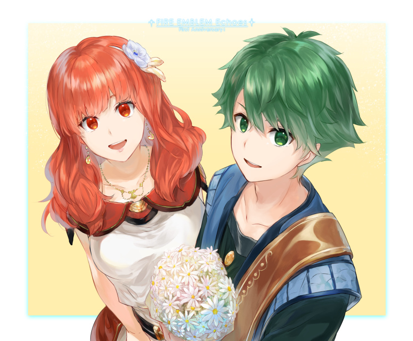 1boy 1girl :d alm_(fire_emblem) bouquet celica_(fire_emblem) collarbone copyright_name daisy earrings fire_emblem fire_emblem_echoes:_mou_hitori_no_eiyuuou fire_emblem_gaiden flower from_above futabaaf green_eyes green_hair hair_between_eyes highres holding holding_bouquet intelligent_systems jewelry looking_at_viewer love necklace nintendo open_mouth orange_eyes orange_hair sleeve smile upper_body white_flower