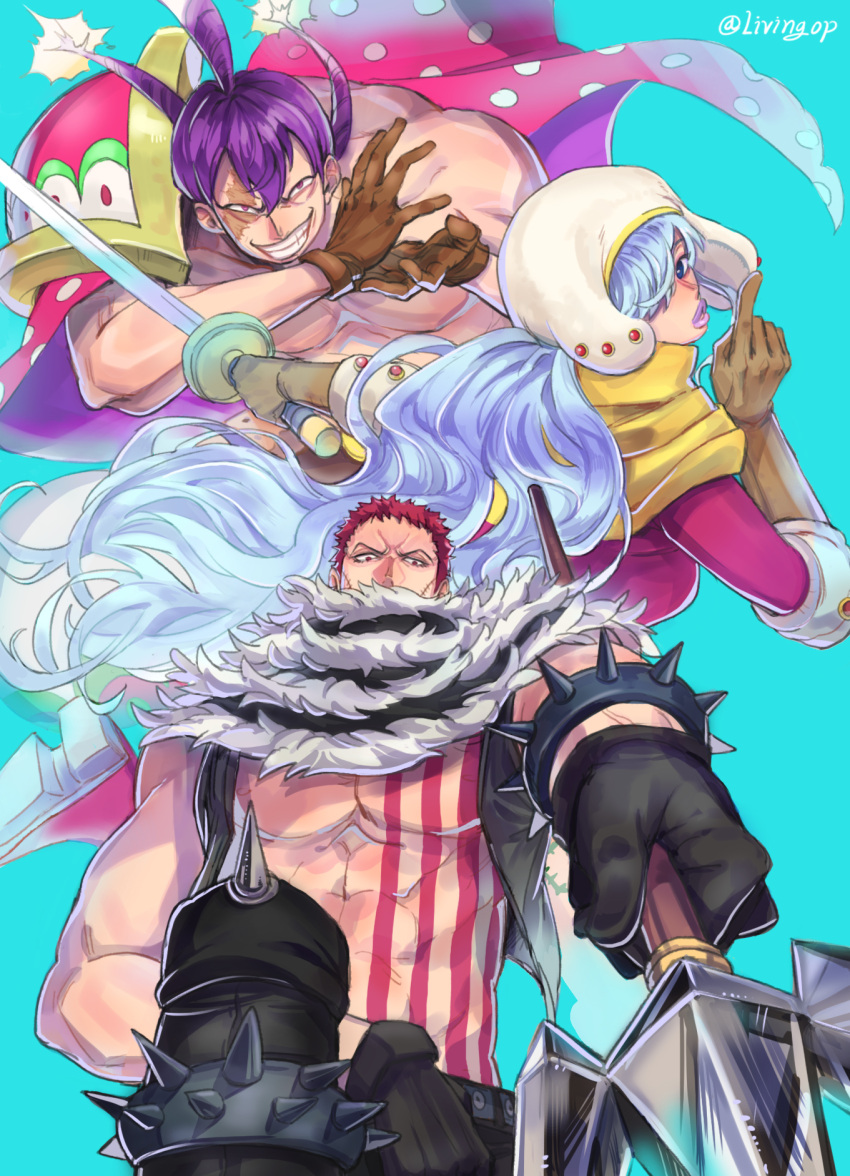 1girl 2boys abs aqua_background armlet bare_arms bare_chest bare_shoulders black_gloves black_pants black_vest blue_eyes blue_hair brother_and_sister brown_gloves burn_scar cape charlotte_cracker charlotte_katakuri charlotte_smoothie chest chest_tattoo covered_mouth elbow_gloves evil_grin evil_smile foreshortening gloves grin hair_between_eyes hair_over_one_eye half-closed_eyes highres holding holding_spear holding_sword holding_weapon index_finger_raised lips living_(pixiv5031111) long_hair long_sleeves looking_at_viewer looking_back looking_down multiple_boys muscle one_piece open_clothes open_vest outstretched_arm pants parted_lips polearm polka_dot purple_hair purple_lips red_eyes redhead scar scar_across_eye scarf scarf_over_mouth shirtless short_hair siblings simple_background smile spear spiked_armlet spikes stitches stomach_tattoo sword tattoo twintails twitter_username very_long_hair vest violet_eyes weapon