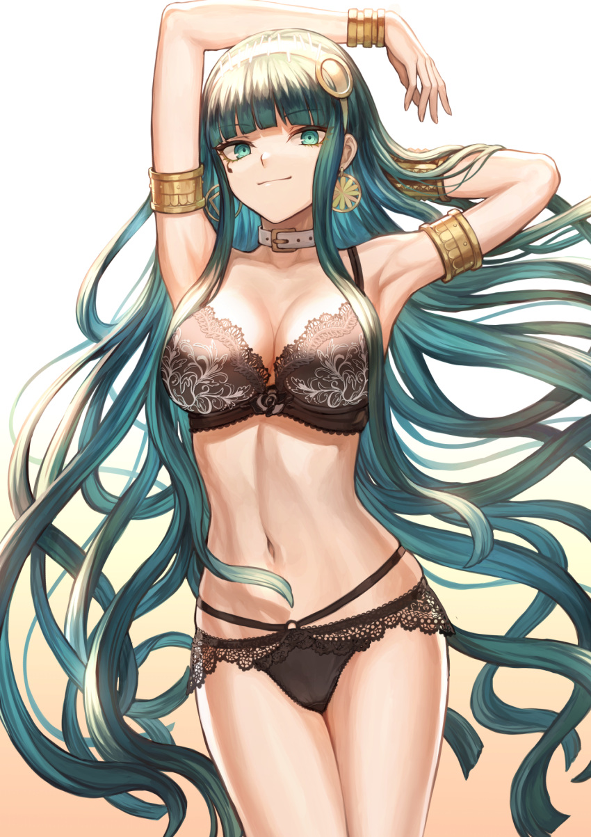 1girl armlet armpits arms_up bangs bare_shoulders belt_collar black_bra black_panties blunt_bangs blush bra bracelet breasts buckle cleavage cleopatra_(fate/grand_order) closed_mouth collar collarbone commentary_request cowboy_shot earrings eyebrows_visible_through_hair fate/grand_order fate_(series) gradient gradient_background green_eyes green_hair groin hairband hand_behind_head highres hips hoop_earrings jewelry lace lace-trimmed_bra lace-trimmed_panties large_breasts lingerie long_hair looking_at_viewer mashu_003 navel necklace panties signature smile solo stomach thighs underwear underwear_only very_long_hair waist