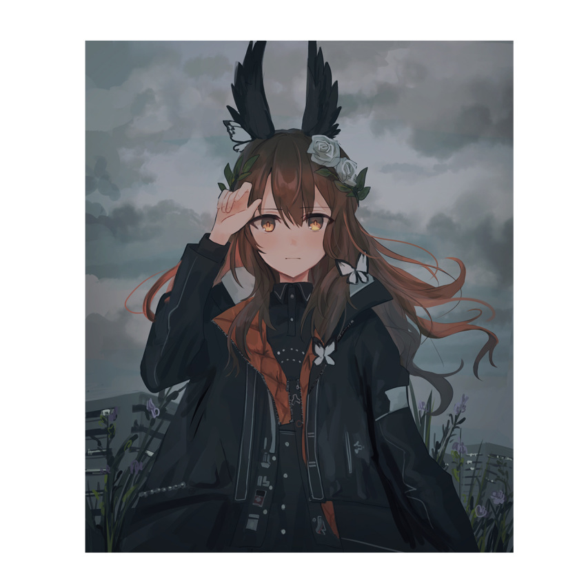 1girl animal arm_up bangs black_jacket black_shirt black_wings blush brown_eyes brown_hair bug building butterfly chihuri closed_mouth clouds cloudy_sky collared_shirt day eyebrows_visible_through_hair feathered_wings fingernails flower hair_between_eyes hair_flower hair_ornament head_wings highres insect jacket lavender_quartz long_hair looking_at_viewer open_clothes open_jacket outdoors overcast purple_flower rose shirt sky solo torabishi_lana white_flower white_rose wings