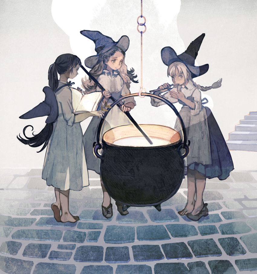 3girls apron barefoot black_dress black_footwear black_hair blonde_hair book braid brown_hair cauldron collared_shirt dress hat hat_removed headwear_removed highres holding holding_book holding_leaf holding_spoon leaf long_dress long_hair long_sleeves looking_at_viewer looking_away multiple_girls muted_color open_book original pinafore_dress ponytail profile rt0no shirt shoes single_braid single_shoe sleeves_folded_up spoon standing tasting very_long_hair waist_apron white_dress white_shirt witch witch_hat