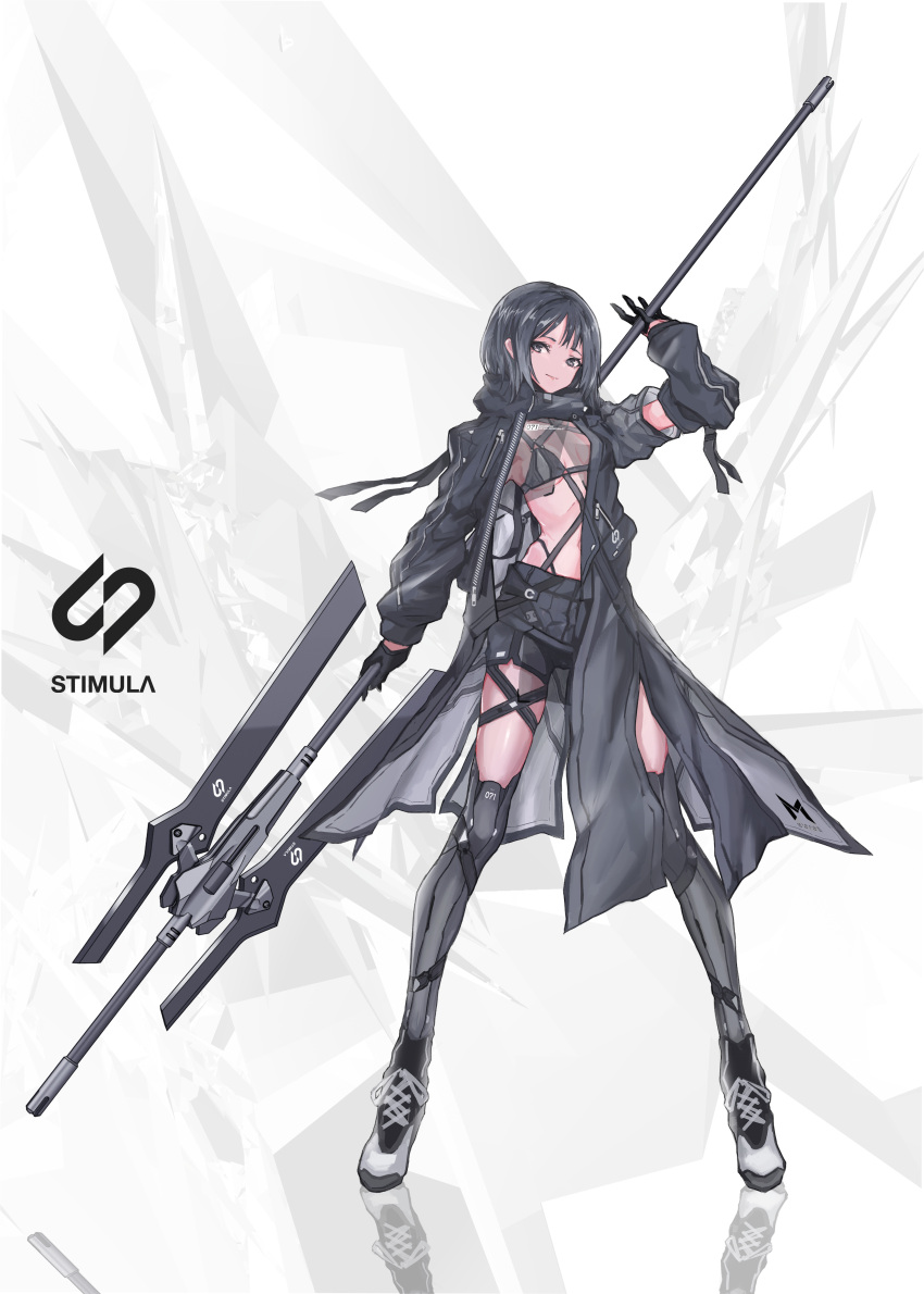 1girl absurdres asymmetrical_clothes bikini_top black_eyes black_hair cancell detached_sleeves full_body gloves half_gloves highres legs_apart long_coat looking_at_viewer original reflection science_fiction see-through short_hair shorts standing thigh-highs weapon