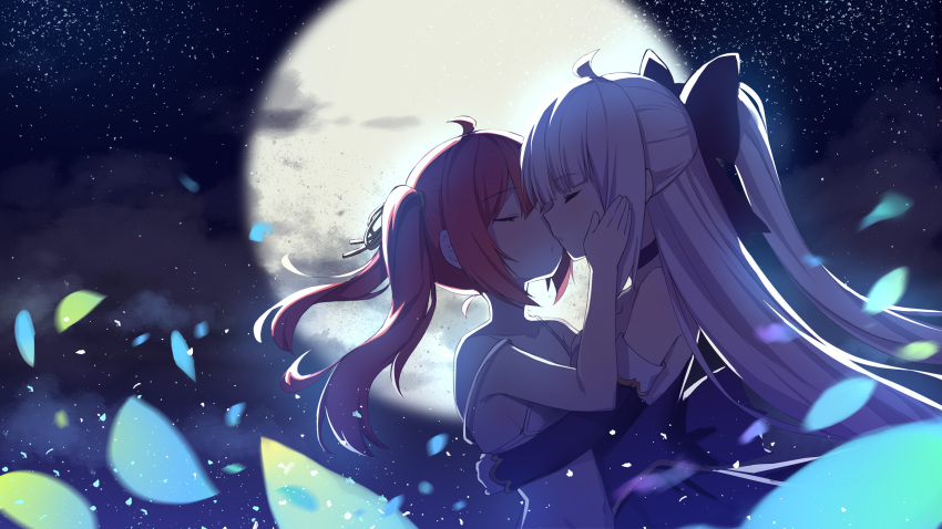 2girls ahoge akabane_(pixiv3586989) arm_warmers black_choker choker closed_eyes dress hair_ornament highres hug imminent_kiss multiple_girls night night_sky original outdoors petals ponytail short_twintails sidelocks sky standing strap_slip twintails upper_body yuri