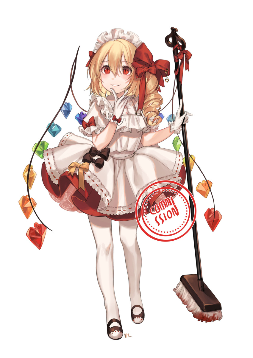 1girl absurdres alternate_costume apron bangs black_bow black_footwear blonde_hair blood blouse blush bow broom commentary commission crystal drill_hair english_commentary enmaided eyebrows_visible_through_hair flandre_scarlet full_body gloves grin hair_between_eyes hair_bow hands_up highres holding holding_broom laevatein long_hair looking_up maid maid_apron maid_headdress mary_janes no_hat no_headwear one_side_up pantyhose petticoat puffy_short_sleeves puffy_sleeves red_bow red_eyes red_skirt shan shoes short_sleeves simple_background skirt slit_pupils smile solo standing touhou white_apron white_background white_blouse white_gloves white_legwear wings yellow_bow