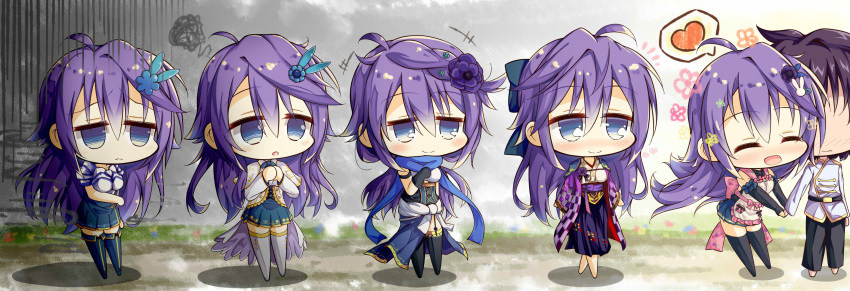 ^_^ absurdres ahoge anemone_(flower_knight_girl) apron blue_eyes blush closed_eyes closed_eyes flower flower_knight_girl frown hair_flower hair_ornament hand_holding heart_shape highres japanese_clothes kimono long_hair purple_hair skirt tagme violet_eyes