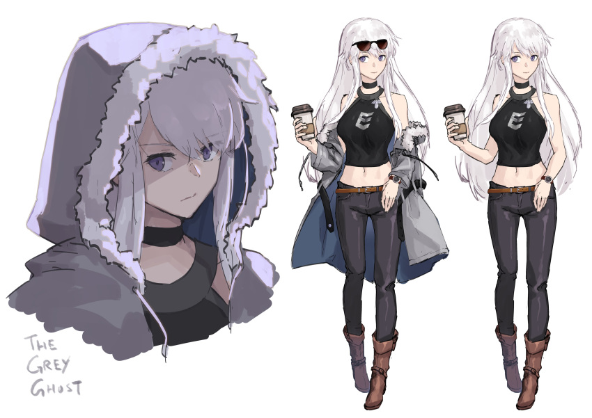 1girl absurdres alternate_costume azur_lane belt black_pants black_shirt boots brown_footwear choker coffee_cup cup disposable_cup english enterprise_(azur_lane) expressionless eyewear_on_head full_body fur-trimmed_hood highres hood hooded_jacket jacket jacky5493 long_hair midriff multiple_views navel off_shoulder pants portrait shirt silver_hair simple_background sleeveless sleeveless_shirt standing sunglasses variations violet_eyes watch watch white_background