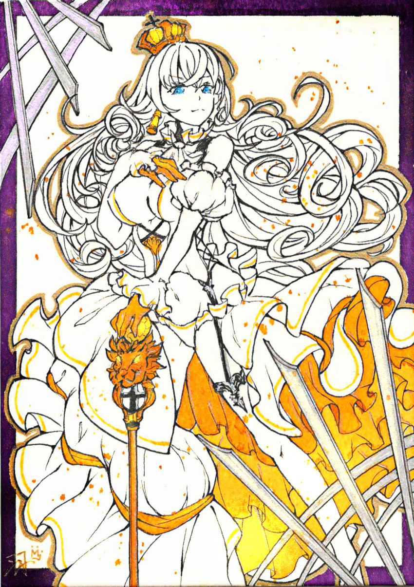 1girl ascot blue_eyes cane chinese_commentary cinders color_ink_(medium) crown curly_hair detached_sleeves dress earrings frills garter_belt garter_straps gloves hand_on_hilt hand_on_own_chest highres jewelry legs limited_palette lion_(zhan_jian_shao_nyu) long_hair navel open_clothes open_dress orange_gloves panties ruffled_skirt signature solo thigh-highs underwear very_long_hair white_dress yu_zhiju zhan_jian_shao_nyu