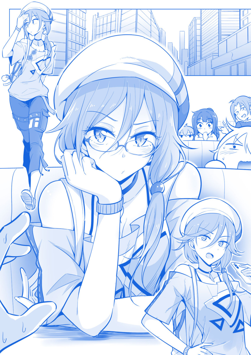 5girls backpack bag bangs bare_shoulders breasts capri_pants cellphone chin_rest choker city cleavage eyebrows_visible_through_hair fu_hua_(honkai_impact) glasses hair_between_eyes hand_on_hip hat highres hirakuneko honkai_impact long_hair looking_at_another looking_at_viewer monochrome multiple_girls off-shoulder_shirt pants phone shirt side_ponytail smartphone solo_focus