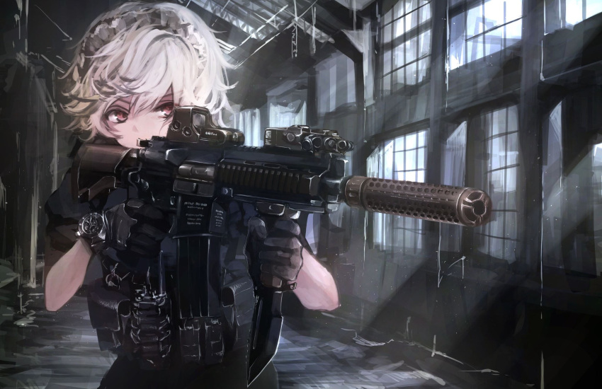 1girl alternate_costume assault_rifle bangs black_gloves combat_knife dark gloves gun hands_up heckler_&_koch highres hk416 holding holding_weapon indoors izayoi_sakuya knife koh_(minagi_kou) light_rays load_bearing_vest looking_afar maid_headdress pouch red_eyes rifle short_hair solo sunbeam sunlight suppressor touhou upper_body watch watch weapon white_hair window