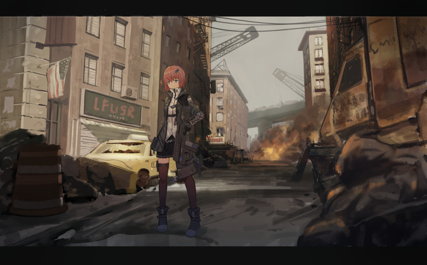 1girl absurdres american_flag asymmetrical_clothes bangs black_coat black_footwear black_gloves black_skirt breasts brown_legwear building car city cityscape closed_mouth coat crane darcy_(pixiv11949485) day expressionless fire flag gloves grey_eyes grey_sky ground_vehicle gun hair_ornament highres holding holding_gun holding_weapon holster legs_apart letterboxed mechanical_arm military military_uniform miniskirt motor_vehicle open_clothes open_coat original outdoors pleated_skirt redhead rifle road rubble science_fiction shirt shoes short_hair sign skirt solo standing street thigh-highs thigh_holster trigger_discipline truck uniform weapon white_shirt window zettai_ryouiki zipper_pull_tab