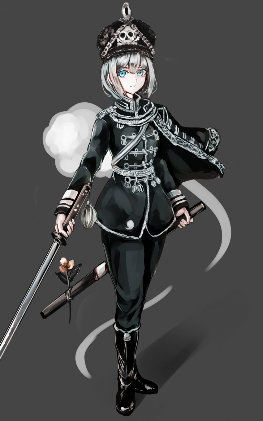 1girl alternate_costume black_cape black_coat black_footwear black_hat black_pants blue_eyes boots cape commentary_request flower full_body grey_background hat highres hitodama holding holding_sword holding_weapon hussar jan_(lightdragoon) katana konpaku_youmu konpaku_youmu_(ghost) long_sleeves looking_at_viewer pants shadow sheath short_hair silver_hair simple_background skull_and_crossbones solo standing sword totenkopf touhou weapon