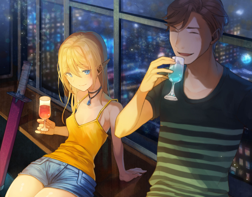 1boy 1girl blonde_hair blue_eyes blue_shorts blush breasts brown_hair building cityscape closed_eyes contemporary cup denim drink elf gem hair_between_eyes highres holding holding_cup indoors kururi mujintou_de_elf_to_kyoudou_seikatsu official_art pointy_ears shirt short_shorts shorts sitting skyscraper small_breasts smile striped striped_shirt sword t-shirt weapon window