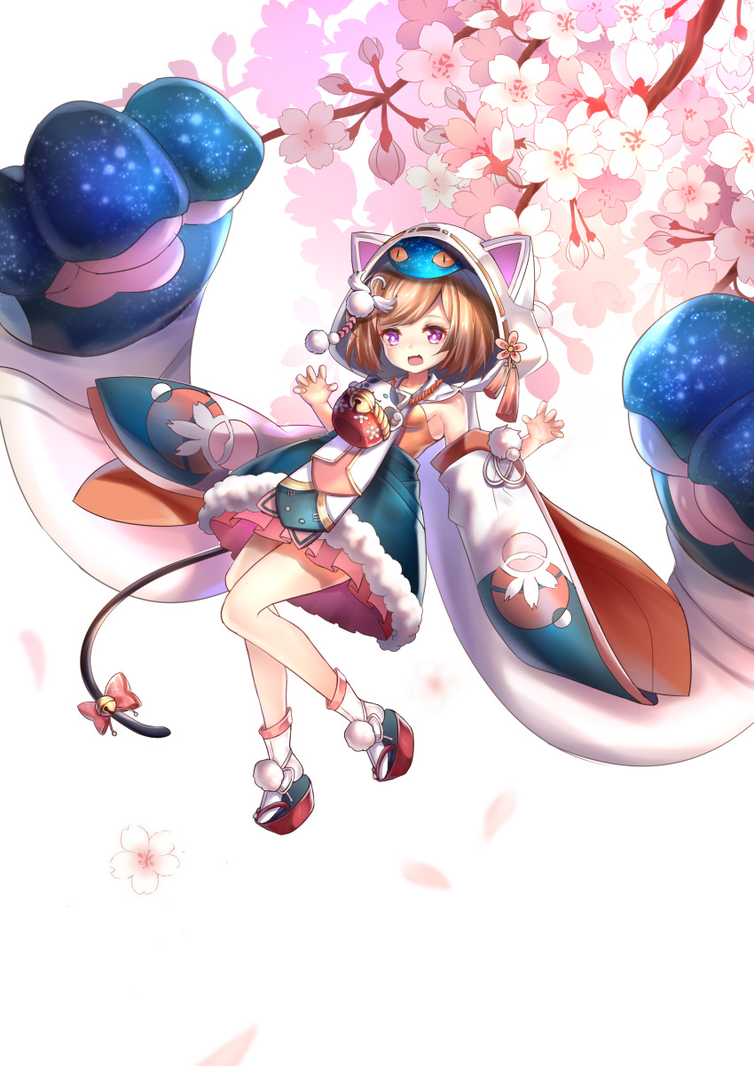 :o absurdres animal_hood bell blue_skirt breasts brown_hair cat_hood cat_tail detached_sleeves flower full_body futakuchi-onna highres hood jewelry jingle_bell looking_at_viewer necklace onmyoji paw_pose pink_skirt pom_pom_(clothes) red_footwear shio_(7203802) short_hair skirt small_breasts tail tail_bell violet_eyes white_background white_legwear wide_sleeves