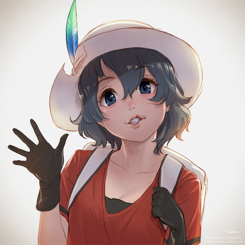 1girl backpack bag black_hair blue_eyes collarbone commentary_request eyebrows_visible_through_hair feathers gloves helmet highres holding_strap kaban_(kemono_friends) kemono_friends pith_helmet shirt short_hair short_sleeves solo t-shirt takami_masahiro upper_body waving