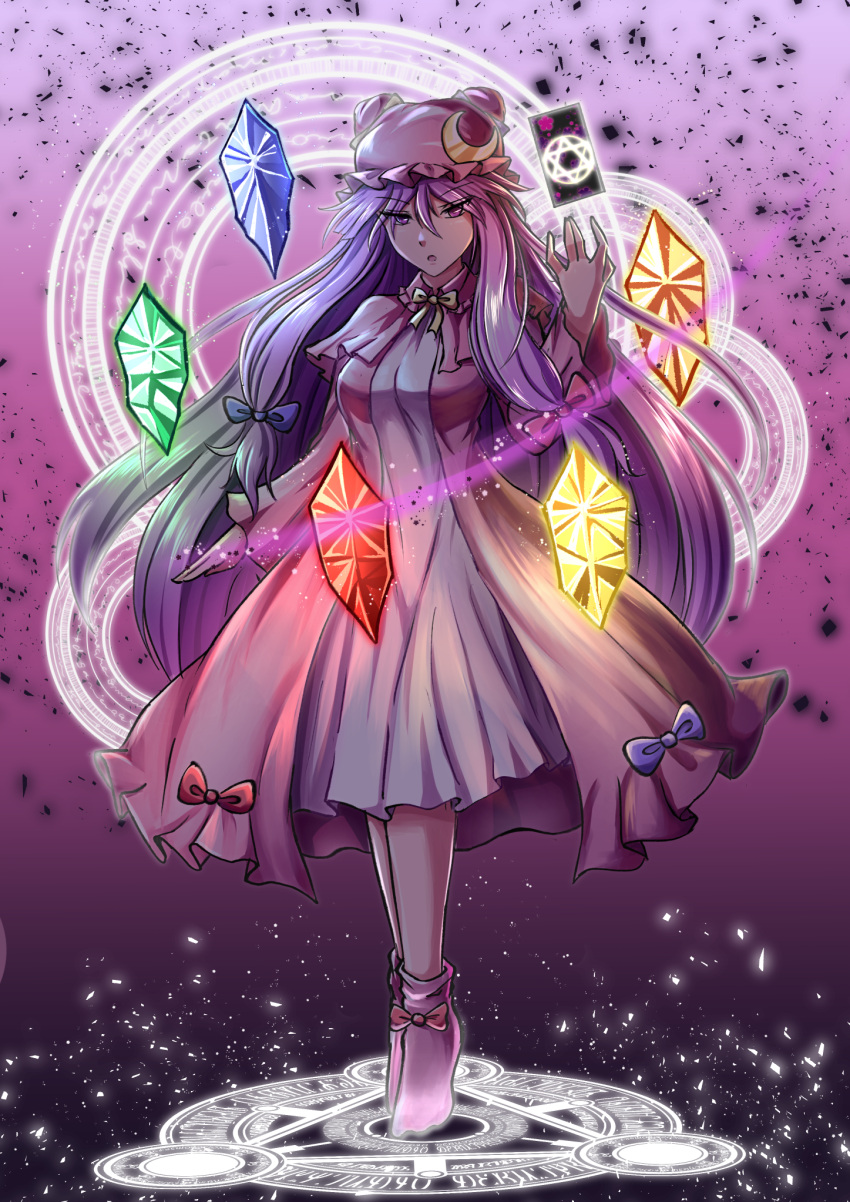 1girl blue_bow bow breasts crescent crescent_moon_pin darkness eyebrows_visible_through_hair full_body hair_bow hat highres light light_particles long_hair looking_at_viewer magic magic_circle medium_breasts open_mouth patchouli_knowledge philosopher's_stone purple_hair red_bow shading solo spell_card touhou very_long_hair violet_eyes xanadu_avici