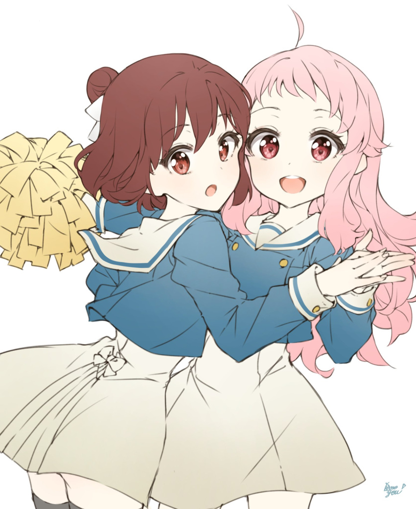2girls :d :o ahoge anima_yell! ass bangs brown_eyes brown_hair commentary_request cowboy_shot eyebrows_visible_through_hair eyelashes hair_bun hair_ribbon hands_together hatoya_kohane highres long_hair long_sleeves looking_at_viewer multiple_girls open_mouth pink_hair pom_poms red_eyes ribbon round_teeth sailor_collar school_uniform signature simple_background sketch smile takenoko_no_you tatejima_kotetsu teeth thigh-highs upper_teeth white_background zettai_ryouiki
