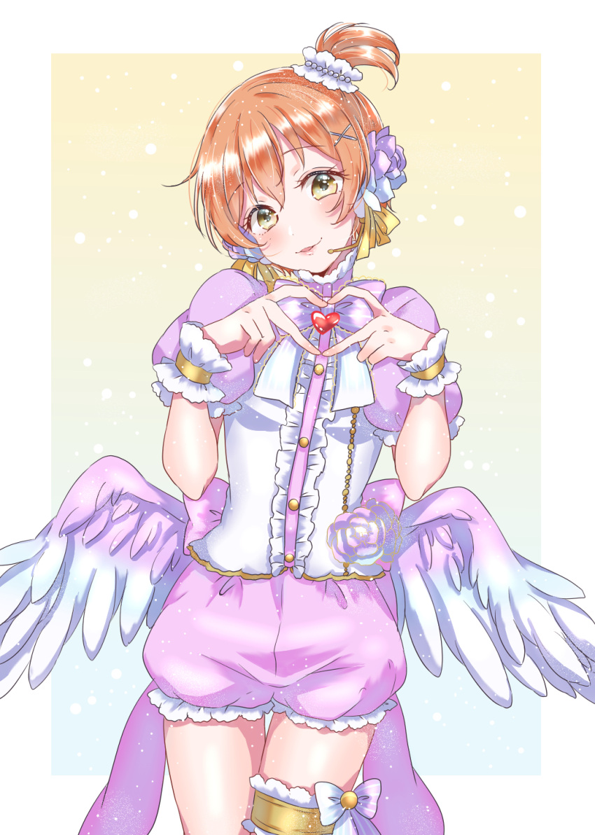 1girl angel_wings blush bow bowtie center_frills cowboy_shot feathered_wings finger_heart flower frilled_shorts frills gradient gradient_background hair_flower hair_ornament hair_ribbon head_tilt headset heart highres hoshizora_rin kaisou_(0731waka) looking_at_viewer love_live! love_live!_school_idol_project orange_hair pink_flower pink_neckwear pink_rose pink_shorts ribbon rose short_hair short_sleeves shorts side_ponytail smile solo striped striped_bow striped_neckwear thigh_gap thighlet wings wrist_cuffs x_hair_ornament yellow_eyes yellow_ribbon