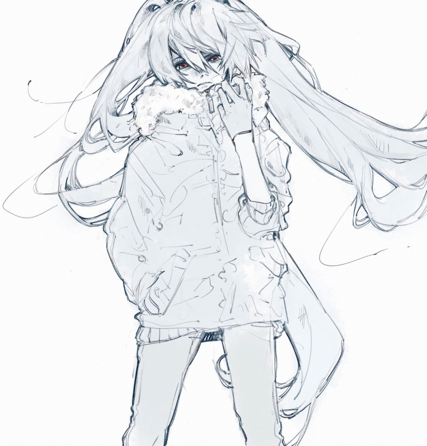 1girl alternate_eye_color arm_up bangs blue daruma_owl fur_jacket fur_trim hair_between_eyes hand_in_pocket hand_up hatsune_miku highres jacket long_bangs long_hair long_sleeves looking_at_viewer monochrome pants red_eyes simple_background sleeves_pushed_up solo spot_color standing twintails very_long_hair vocaloid white_background zipper_pull_tab