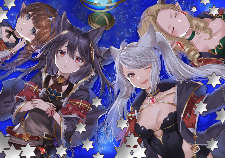 4girls absurdres animal_ears black_hair blonde_hair blush bracelet braided_ponytail breasts brown_hair capelet choker cleavage cloak closed_eyes death_(granblue_fantasy) draph drill_hair earrings erune eyebrows_visible_through_hair fraux globe granblue_fantasy grey_eyes harvin highres huge_filesize jewelry leotard long_hair long_sleeves looking_at_viewer lying medium_breasts multiple_girls myusha on_back one_eye_closed open_mouth pointy_ears red_eyes sparkle teresa_(granblue_fantasy) twin_drills white_hair wide_sleeves