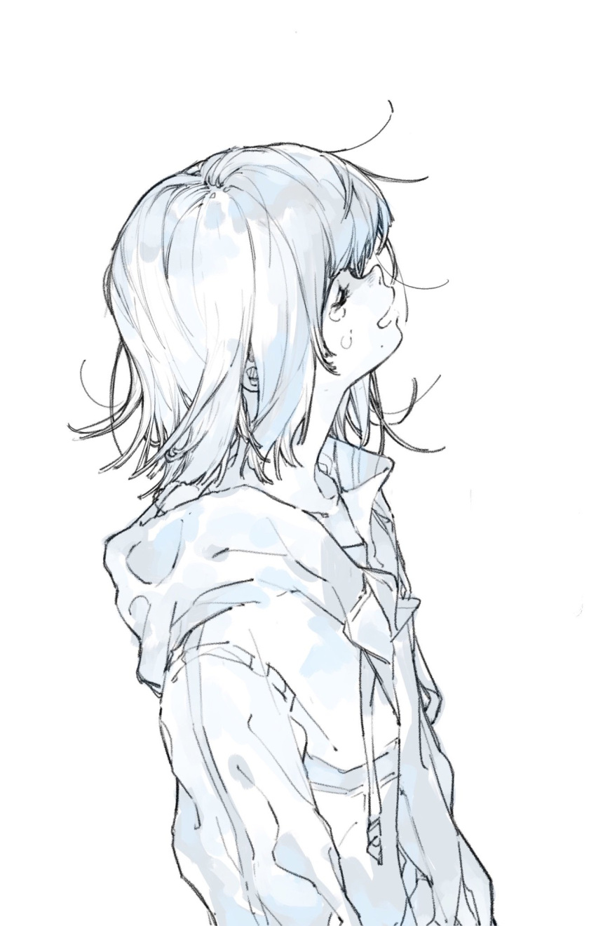 1girl blue closed_eyes commentary_request crying daruma_owl from_side highres hood hooded_jacket jacket long_sleeves monochrome open_mouth original profile short_hair simple_background solo white_background