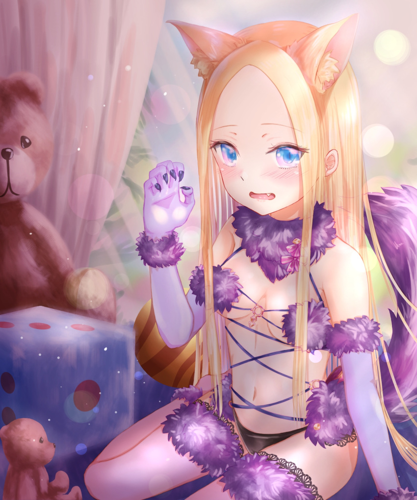 1girl abigail_williams_(fate/grand_order) animal_ear_fluff animal_ears bangs black_panties blonde_hair blue_eyes blue_sky blush breasts cat_ears claw_pose cosplay curtains dangerous_beast day elbow_gloves fang fate/grand_order fate_(series) fingernails forehead fur-trimmed_gloves fur-trimmed_legwear fur_trim gloves hand_up highres indoors kemonomimi_mode long_hair looking_at_viewer mash_kyrielight mash_kyrielight_(cosplay) medium_breasts navel open_mouth panties parted_bangs purple_gloves purple_legwear sanka_tan sitting sky solo stuffed_animal stuffed_toy tail tail_raised teddy_bear thigh-highs underwear very_long_hair window wolf_tail
