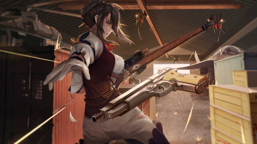 1girl action aircraft airplane arm_strap bangs bolt_action boots braid breasts brown_hair brown_vest bullet_trail crown_braid day fighter_jet floating_hair girls_frontline gloves green_eyes gun hair_ornament half-closed_eyes handgun hangar helicopter highres holding holding_gun holding_weapon jet large_breasts lee-enfield lee-enfield_(girls_frontline) lien-tsu long_hair looking_at_viewer military military_uniform military_vehicle pants pistol rifle shipping_container shirt sleeve_cuffs thigh-highs thigh_boots torn_clothes tossing uniform vest weapon white_gloves white_pants white_shirt
