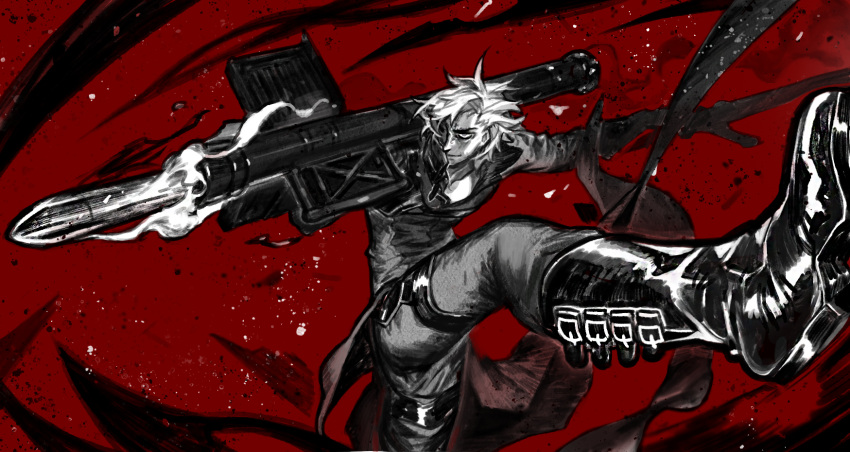 1boy belt_boots boots contrapposto dante_(devil_may_cry) debris devil_may_cry devil_may_cry_2 grey_eyes hallot highres holding holding_sword holding_weapon medium_hair missile_pod partially_colored red_background rocket_launcher silhouette smile smoke solo spot_color sword weapon white_hair