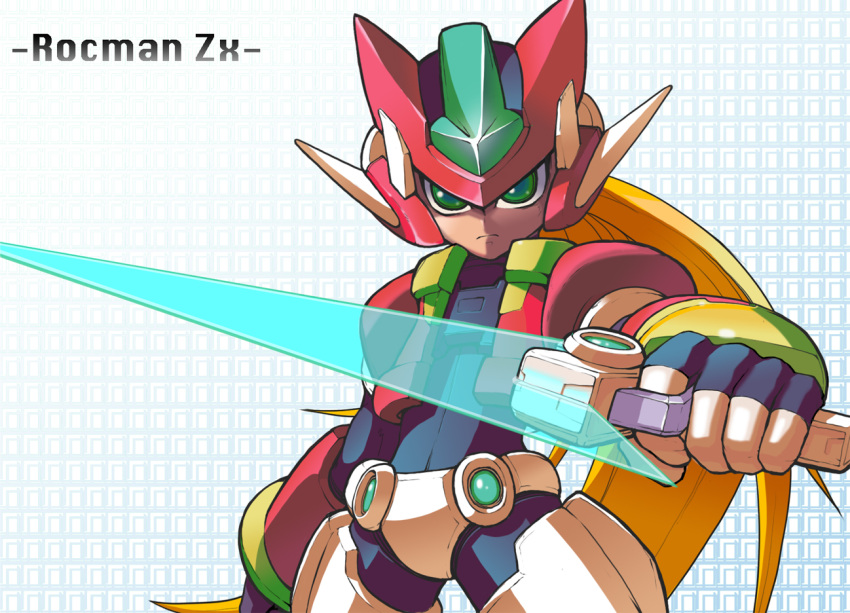 blonde_hair copyright_name cowboy_shot energy_blade energy_sword green_eyes helmet holding holding_weapon long_hair looking_at_viewer model_zx power_armor rockman rockman_zx serious solo sword vent weapon yuusuke_(5yusuke3)