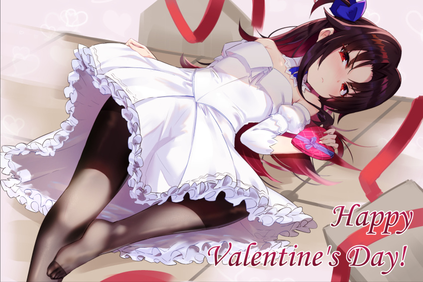 1girl bangs bare_shoulders black_legwear blue_bow blush bow box brown_hair closed_mouth commentary_request detached_sleeves dress eyebrows_visible_through_hair frilled_dress frills gift gift_box gradient_hair hair_between_eyes hair_bow happy_valentine heart heart-shaped_box holding holding_gift kakumayu long_sleeves lying multicolored_hair no_shoes on_back one_side_up pantyhose parted_bangs puffy_short_sleeves puffy_sleeves red_eyes red_ribbon redhead ribbon ryuuou_no_oshigoto! short_over_long_sleeves short_sleeves solo strapless strapless_dress valentine white_dress white_sleeves yashajin_ai