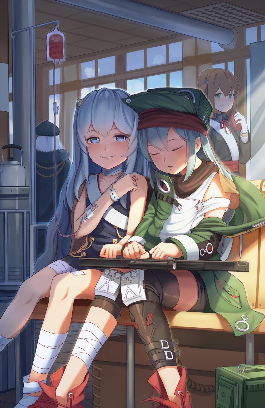 4girls absurdres assault_rifle bandage bandaged_feet bandaged_leg bandaged_neck bandages bangs beret black_hat black_shorts blood blue_eyes blush boots character_request closed_mouth coat collarbone dress from_behind fur_trim g11 g11_(girls_frontline) girls_frontline goback green_eyes green_hat green_jacket gun hair_between_eyes hair_ornament hairclip hand_up hat highres holding holding_gun holding_object holding_weapon intravenous_drip jacket jacket_on_shoulders kar98k_(girls_frontline) knee_pads knees_together_feet_apart long_hair looking_at_another messy_hair multiple_girls open_clothes open_coat parted_lips red_footwear ribeyrolles_1918_(girls_frontline) rifle shorts shoulder_cutout silver_hair sitting sleeping smile submachine_gun very_long_hair wavy_hair weapon white_hair