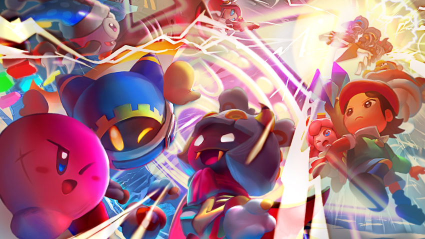 adeleine attack battle beak blue_eyes crystal energy_shield fangs flamberge_(kirby) flying francisca_(kirby) glowing glowing_eyes gun highres king_dedede kirby kirby:_star_allies kirby_(series) looking_at_another looking_up magolor marx mecha nintendo official_art one_eye_closed open_mouth ribbon_(kirby) scar smile source_request susie_(kirby) taranza teamwork weapon yellow_eyes zan_partizanne