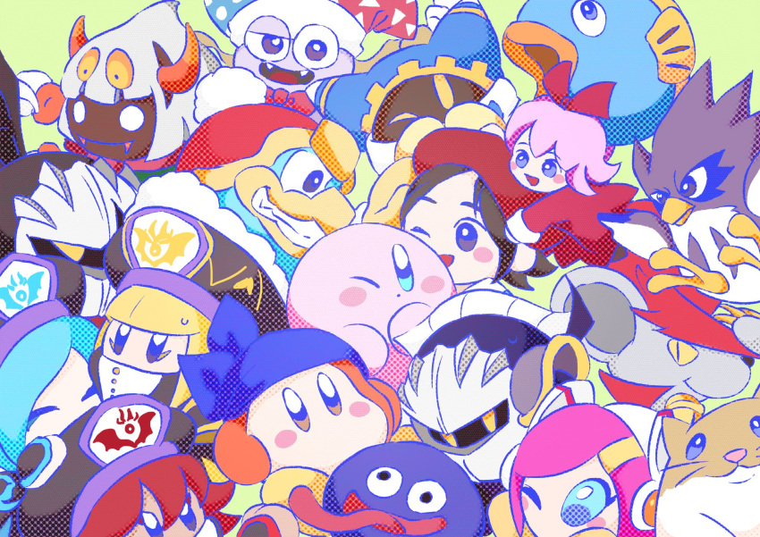 6+girls adeleine bandanna beak beret black_hair blush_stickers bow bowtie cape cloak coo_(kirby) dark_meta_knight daroach everyone fangs fish flamberge_(kirby) francisca_(kirby) glowing glowing_eyes gooey group_hug hair_ornament hair_ribbon hairclip hat highres horns hug kine_(kirby) king_dedede kirby kirby:_star_allies kirby_(series) long_hair m_shik83 magolor marx mask meta_knight multiple_girls nintendo one_eye_closed pink_hair ribbon ribbon_(kirby) rick_(kirby) silver_hair simple_background smile susie_(kirby) taranza tongue tongue_out waddle_dee whiskers wings zan_partizanne