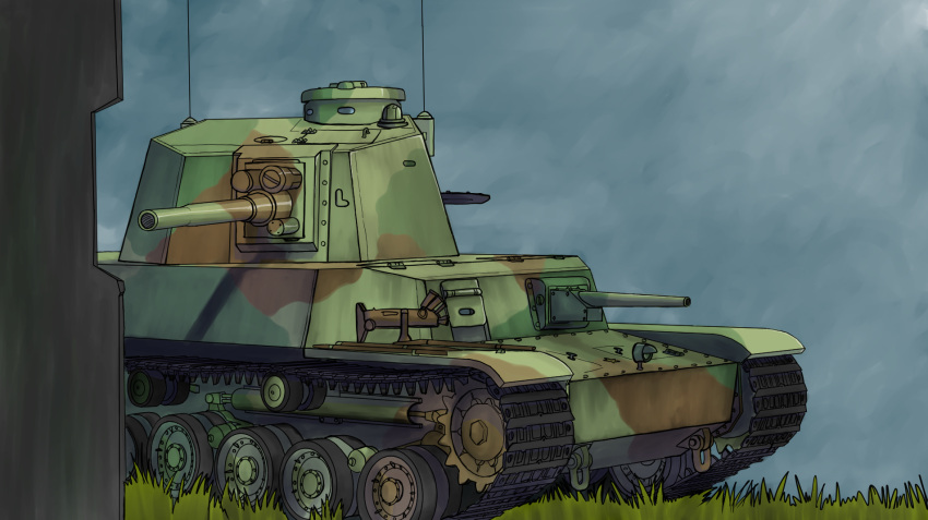 caterpillar_tracks clouds commentary_request daijobuda day grass ground_vehicle highres military military_vehicle motor_vehicle no_humans original sky tank type_5_chi-ri
