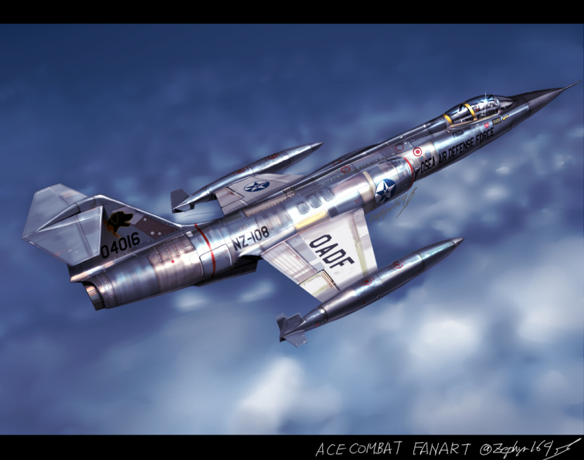 ace_combat aircraft airplane clouds commentary commentary_request f-104_starfighter fighter_jet flying jet military military_vehicle real_life realistic roundel shiny signature zephyr164