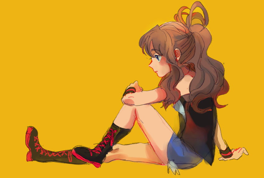 1girl bangs black_footwear black_vest blue_eyes blue_shorts boots brown_hair creatures_(company) cross-laced_footwear cutoffs eyebrows_visible_through_hair from_side full_body game_freak gradient gradient_background highres lace-up_boots long_hair nintendo open_clothes open_vest pokemon pokemon_(game) pokemon_bw ponytail shirt shorts sitting solo tanbo-san touko_(pokemon) vest white_shirt wristband