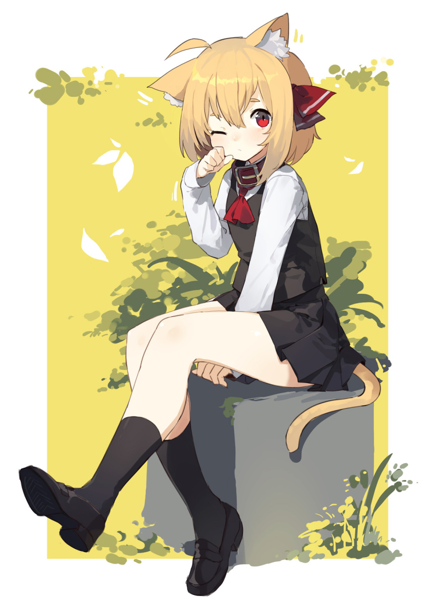 1girl ahoge ascot bangs between_legs black_footwear black_legwear black_skirt black_vest blonde_hair border cat_tail collar full_body hair_between_eyes hair_ribbon hand_between_legs highres kemonomimi_mode kneehighs long_sleeves looking_at_viewer miniskirt one_eye_closed pleated_skirt red_eyes red_neckwear red_ribbon ribbon rumia sh_(562835932) shirt shoes short_hair sitting skirt skirt_set solo tail touhou vest white_border white_shirt yellow_background