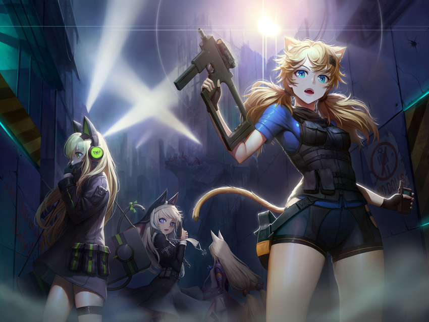 4girls adjusting_clothes animal_ears assault_rifle banajune bangs black_coat black_gloves black_shorts blonde_hair blue_eyes blue_shirt blush bow breasts brown_hair bushman_idw cat_ear_headphones cat_ears cat_tail character_name covered_mouth cross dress eyebrows_visible_through_hair finger_on_trigger fingerless_gloves floating_hair g41_(girls_frontline) girls_frontline gloves green_eyes gun h&k_g41 habit hair_between_eyes hair_ornament hairclip handgun headphones heckler_&_koch holding holding_gun holding_walkie-talkie holding_weapon idw_(girls_frontline) jacket leotard lights long_hair long_sleeves looking_at_viewer low-tied_long_hair low_twintails medium_breasts mod3_(girls_frontline) multiple_girls night nun open_mouth outdoors p7 p7_(girls_frontline) pistol pouch ribbon rifle ruins shirt shorts sidelocks silver_hair small_breasts snap-fit_buckle steyr_tmp submachine_gun tactical_clothes tail tail_ribbon thigh-highs thigh_strap tmp_(girls_frontline) twintails very_long_hair vest violet_eyes walkie-talkie weapon weapon_case wind