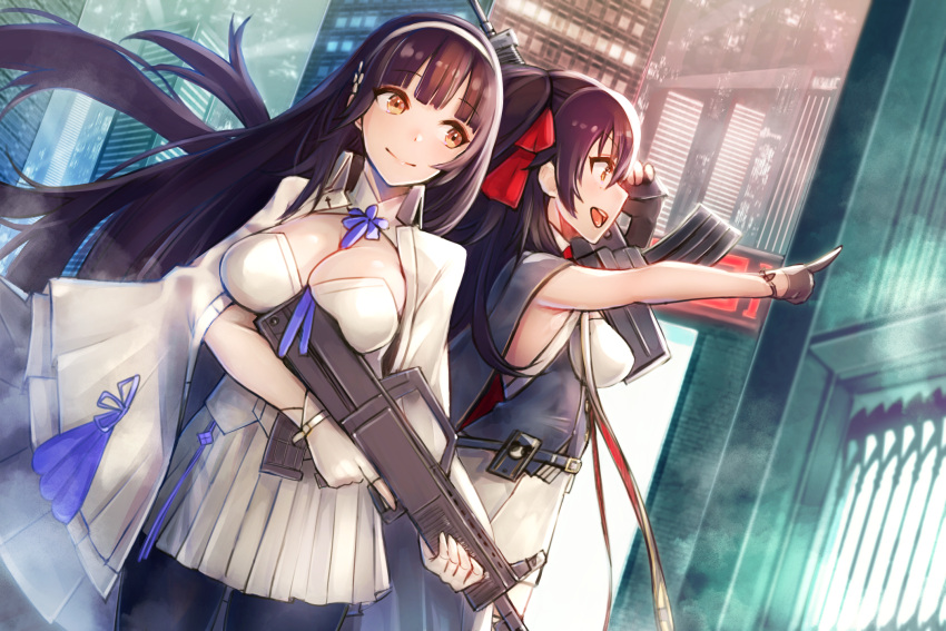 2girls assault_rifle bangs black_hair black_legwear blush breasts brown_eyes bullpup cape cityscape cleavage closed_mouth commentary_request corset double-breasted eyebrows_visible_through_hair flower girls_frontline gloves gun hair_between_eyes hair_flower hair_ornament hair_ribbon hairband highres holding holding_gun holding_weapon large_breasts long_hair looking_away mappaninatta multiple_girls necktie outdoors pantyhose pleated_skirt pointing qbz-95 qbz-95_(girls_frontline) qbz-97 qbz-97_(girls_frontline) ribbon rifle shirt sidelocks signature skirt sleeveless sleeveless_shirt smile thigh-highs trigger_discipline twintails twitter_username underbust very_long_hair weapon white_gloves white_hairband white_legwear white_shirt white_skirt yellow_eyes