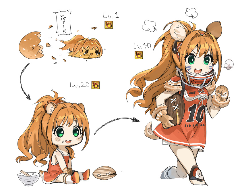 >:d 1girl =3 animal_ears ball bangs bowl chin_strap chopsticks cropped_legs dress egg evolution eyebrows_visible_through_hair facial_mark food food_on_face football fur_gloves gloves green_eyes hair_intakes hamster_ears hamster_tail hands_together hatching headgear highres hino_akane_(idolmaster) holding holding_ball idolmaster idolmaster_cinderella_girls knee_pads level_up long_hair multiple_views nut_(food) orange_hair ponytail red_dress rice_bowl running simple_background sitting spawnfoxy speech_bubble upper_teeth very_long_hair wavy_hair whisker_markings white_background