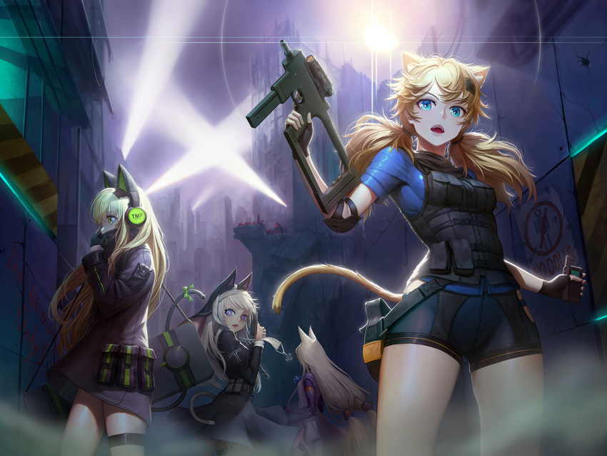 4girls adjusting_clothes animal_ears assault_rifle banajune bangs black_coat black_gloves black_shorts blonde_hair blue_eyes blue_shirt blush bow breasts brown_hair bushman_idw cat_ear_headphones cat_ears cat_tail character_name commentary_request covered_mouth cross dress elbow_pads eyebrows_visible_through_hair finger_on_trigger fingerless_gloves floating_hair g41_(girls_frontline) girls_frontline gloves green_eyes gun h&k_g41 habit hair_between_eyes hair_ornament hairclip handgun headphones heckler_&_koch holding holding_gun holding_walkie-talkie holding_weapon idw_(girls_frontline) jacket leotard lights long_hair long_sleeves looking_at_viewer low-tied_long_hair low_twintails medium_breasts mod3_(girls_frontline) multiple_girls night nun open_mouth outdoors p7 p7_(girls_frontline) pistol pouch revision ribbon rifle ruins shirt shorts sidelocks silver_hair small_breasts snap-fit_buckle steyr_tmp submachine_gun tactical_clothes tail tail_ribbon thigh-highs thigh_strap tmp_(girls_frontline) twintails very_long_hair vest violet_eyes walkie-talkie weapon weapon_case wind