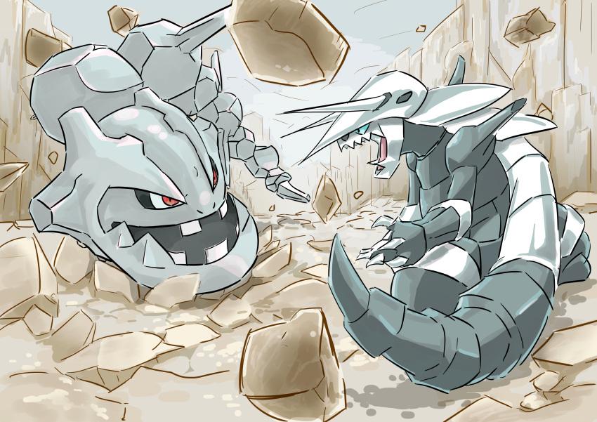 absurdres aggron blue_eyes creatures_(company) fighting game_freak gen_2_pokemon gen_3_pokemon highres horn nintendo no_humans pokemon pokemon_(creature) red_eyes rock steelix
