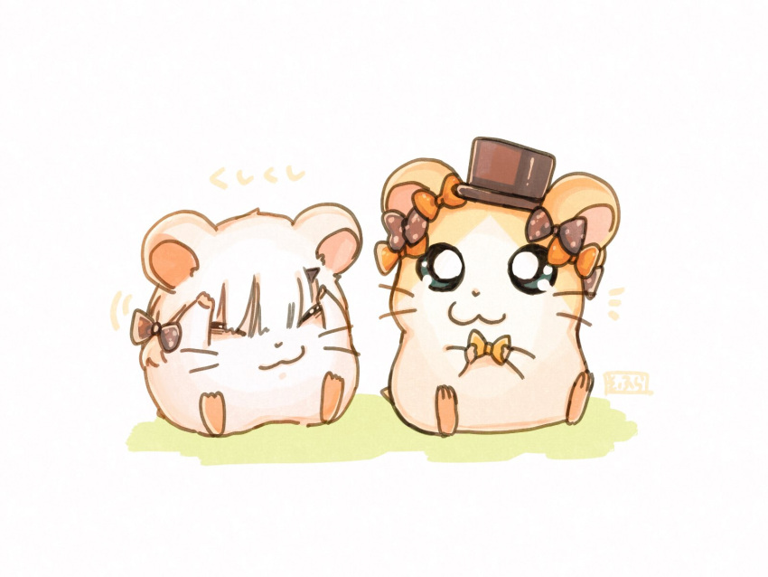 :3 abigail_williams_(fate/grand_order) abigail_williams_(fate/grand_order)_(cosplay) animal bangs black_bow black_hat blue_eyes bow closed_eyes closed_mouth cosplay fate/grand_order fate_(series) hamster hamtaro hamtaro_(hamtaro) hat highres holding holding_bow horn lavinia_whateley_(fate/grand_order) looking_at_viewer no_humans orange_bow polka_dot polka_dot_bow ribbon_(hamutarou) sitting sofra top_hat white_background