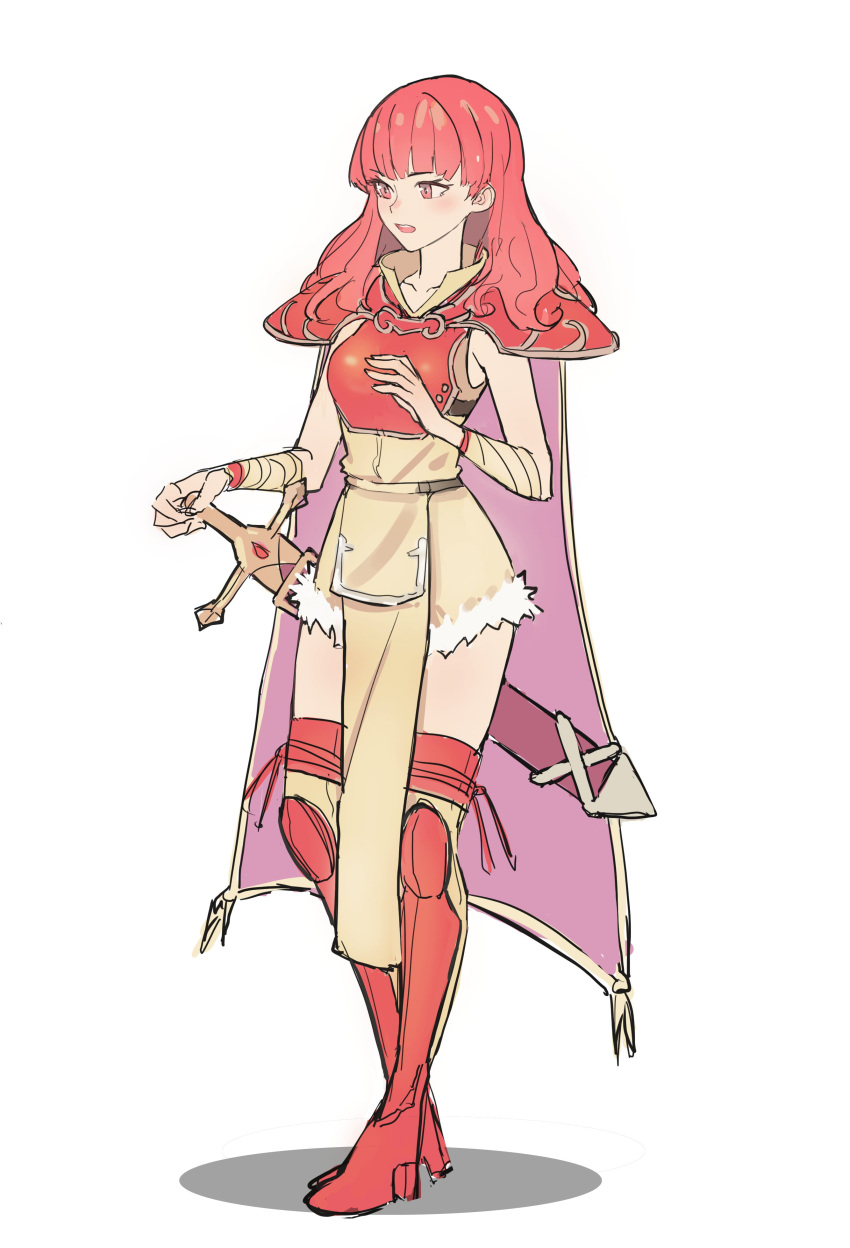 1girl absurdres armor cape celica_(fire_emblem) dress earrings fire_emblem fire_emblem_echoes:_mou_hitori_no_eiyuuou fire_emblem_gaiden fire_emblem_heroes gloves highres jewelry kiritzuguart long_hair nintendo pelvic_curtain red_eyes redhead simple_background sketch solo thigh-highs weapon